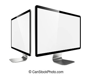 monitor., lcd, moderne, deux, widescreen