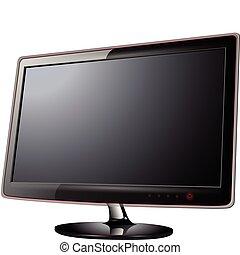 monitor, lcd, televisión