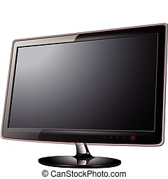 Monitor lcd, tv realistic vector illustration.