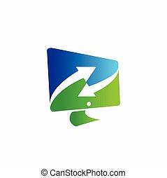 monitor logo design, recycle vector logo