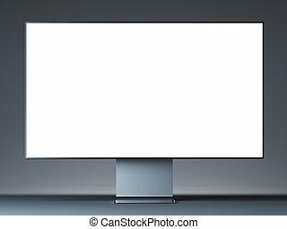 monitor, luce, schermo, moderno, rendering., metallo, fondo., vuoto, 3d
