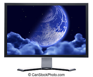 monitor, lunair, hemel