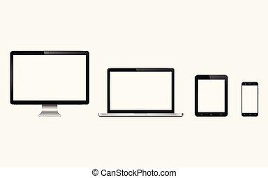 monitor, móvel, set., tabuleta, laptop, computador, telefone., dispositivo digital, esperto