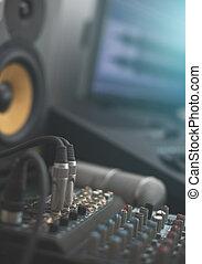 monitor., microfone, conceito, misturador, profissional, condensador, lar, música, studio.