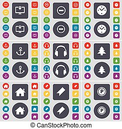 Monitor, Minus, Clock, Anchor, Headphones, Firtree, House, Marker, Parking icon symbol. A large set of flat, colored buttons for your design. Vector