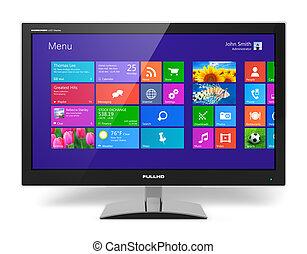 monitor, mit, touchscreen, schnittstelle