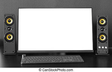 monitor, mockup, screen., desktop, desk., computer, leeg