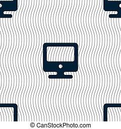 monitor, modello, segno., seamless, vettore, geometrico, texture., icona