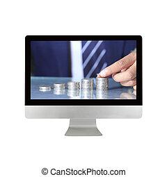 monitor, monete, mano, computer, mettere, uomo affari