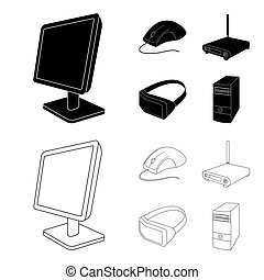 Monitor, mouse and other equipment. Personal computer set collection icons in black, outline style bitmap symbol stock illustration web.