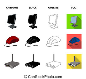 Monitor, mouse and other equipment. Personal computer set collection icons in cartoon, black, outline, flat style bitmap symbol stock illustration web.