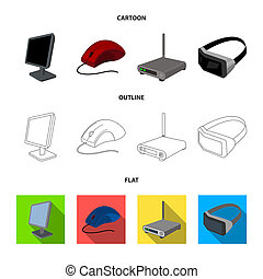 Monitor, mouse and other equipment. Personal computer set collection icons in cartoon, outline, flat style bitmap symbol stock illustration web.
