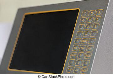 monitor, noha, touch-sensitive, gombok, képben látható, gép