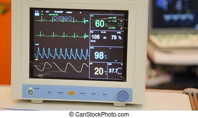 monitor of indications of action of heart, frequency and...
