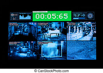 A monitor showing pictures of surveillance cameras in different rooms