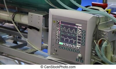 monitor of warm rhythm showing electrocardiograms close up