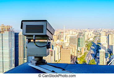 Monitor on the balcony of a high building