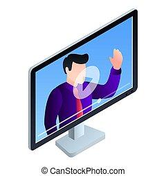 Monitor online webinar icon, isometric style