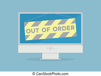 Monitor out of order - minimalistic illustration of a...