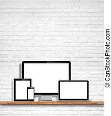 monitor, pc tavoletta, mobile, schermo, laptop, telefono, computer, vuoto