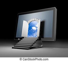 monitor., porte, illustration, réalité, par, virtuel, ...
