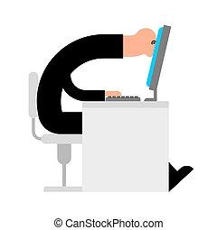 monitor., praca, pracownik, ilustracja, wektor, spojrzenia, computer.