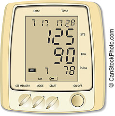 monitor., presión, médico, sangre, iqu