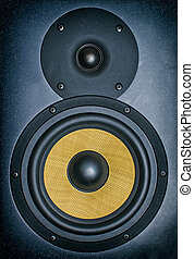 monitor., professioneel, muziek studio, close-up.