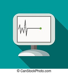 Monitor recorded cardiac arrest icon, flat style - Monitor ...