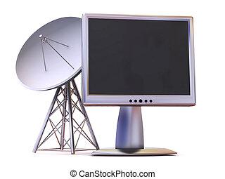 monitor., satelliet, 3d