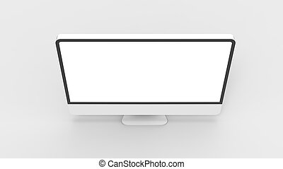 monitor, scherm, moderne, vrijstaand, achtergrond., leeg, witte , illustrating., 3d