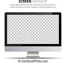 monitor, schermo, computer, disegno, vuoto, mockup.