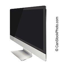 monitor, schermo, isolato, fondo., computer, nero, bianco, mostra