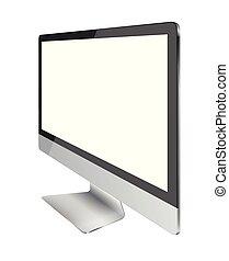 monitor, schermo, isolato, fondo., computer, vuoto, bianco, mostra