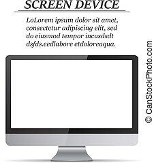 monitor, schermo, realistico, fondo, vuoto, bianco