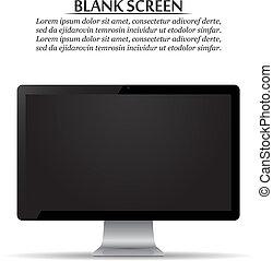 monitor, screen., computer, fondo, vuoto, bianco