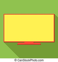 Monitor screen, icon over green background, vector illustration