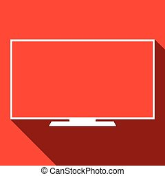 Monitor screen, icon over red background, vector illustration