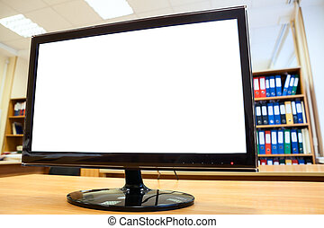 Monitor screen with white isolated background is on office desk