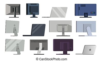 Monitor Set Vector. Different Types Modern Monitors, laptop....