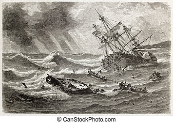Monitor shipwreck old illustration in front of Cape...