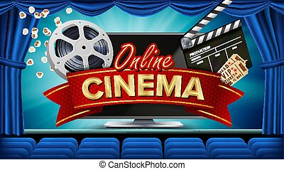 monitor., show., teatro, illustration., premiere, cinema, film, linea, manifesto, bandiera, realistico, computer, lusso, sagoma, marketing, opuscolo, design., curtain., vector.