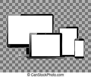 Monitor smartphone laptop tablet set
