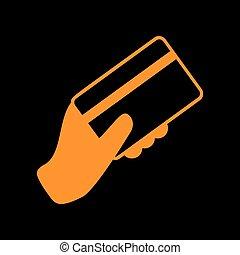 monitor., stary, card., kredyt, ręka, tło., czarnoskóry, phosphor, dzierżawa, pomarańcza, ikona, crt.
