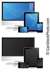 monitor, tableta, teléfono, vectors