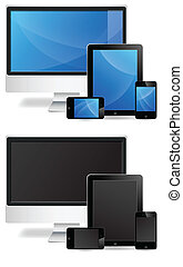 monitor, tablette, telefon, vectors