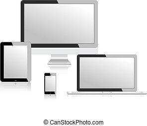monitor, tabuleta, laptop, ilustração, telefone, vetorial