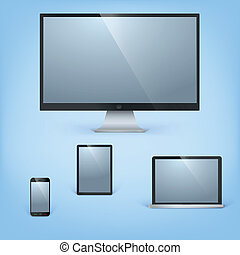 monitor, tabuleta, realístico, móvel, laptop, telefone, vetorial, computador, modelo