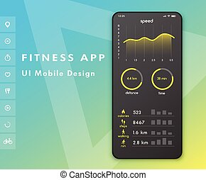 monitor., toile, concept, illustration., elements., app., vecteur, conception, fitness, ui, parameter