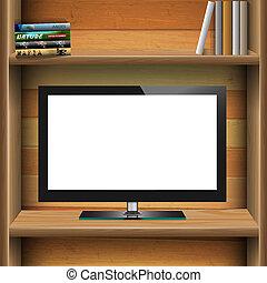 monitor, tv, mensola, widescreen, legno, lcd, libri